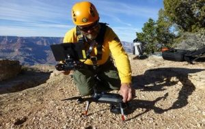 worker with drone on the ground in grand canyon national park